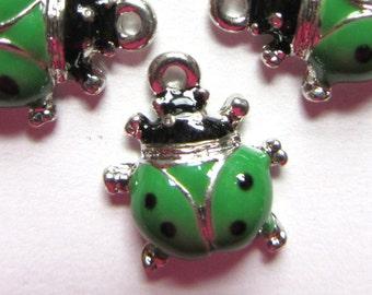 5 Pieces GREEN BEETLE BUG Charm Pendants