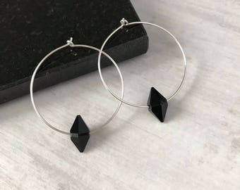 Sterling Silver Hoop Earrings with Jet Black Swarovski Crystal/Swarovski Earrings/Spike/Silver Hoop/Modern/Edgy/Minimal/Everyday/Gift/Bridal
