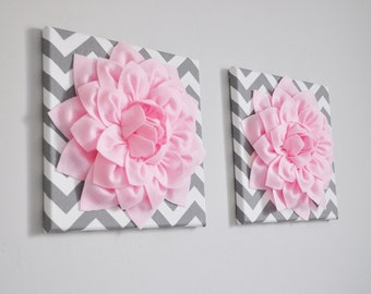 """Set of TWO Wall Flowers -Light Pink Dahlia on Gray and White Chevron 12 x12"""" Canvas Wall Art- Baby Nursery Wall Decor-"""