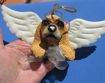 Retro Dog Angel Ceramic Ornament TLC Chips