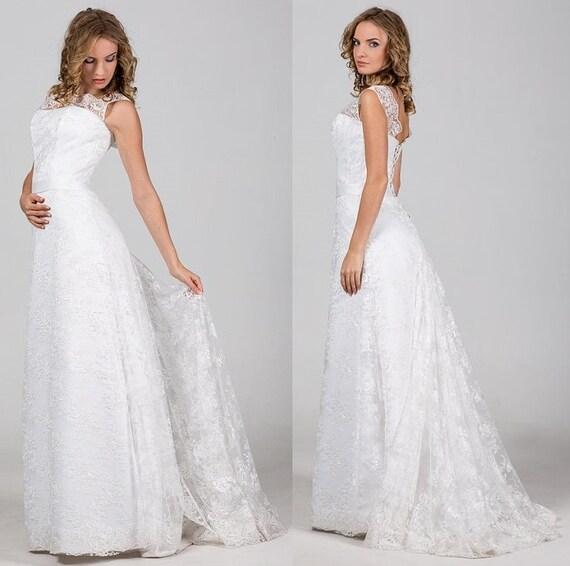 Boho Vintage-inspirierte a-Linie Brautkleid mit langen Spitzen