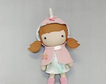 "Handcrafted STUDIO DOLL 15"" - Girl in Unicorn Cape. Handmade, Doll, Girl, Toy, Plush, Children, Gift, Unicorn"
