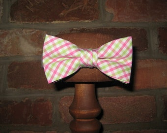 Pink and Green Tattersall Bow Tie~Boys Bow Tie~Cotton Bow Tie~Wedding Tie