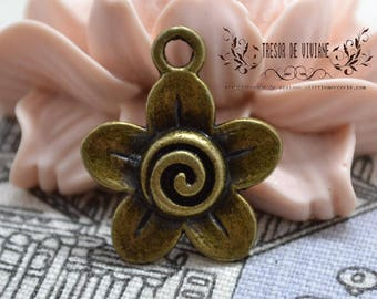 Set of 8 QZW034 charms, Bronze, flowers