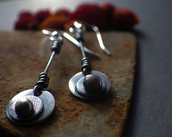 Artisan Made Eco Friendly Recycled Long Dangle Silver Earrings, Earthy, Organic, Natural and Handmade Textured Swing Earrings