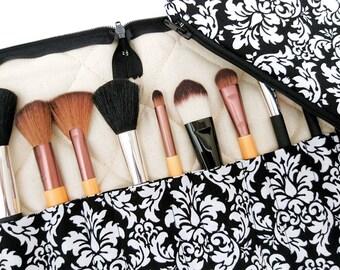 Travel makeup brush holder, brush organiser and bag, brush holder and bag set, damask makeup bag, wife gift, black gift