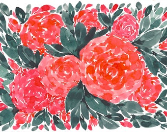 Rose Floral Abstract Original WATERCOLOR Painting