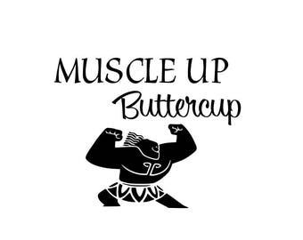Maui Muscle Up Buttercup Iron-On | Heat Transfer Vinyl for Shirts, Bags, Pillows | Moana | Disney