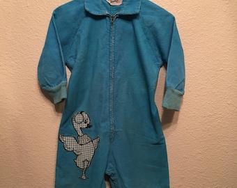 Vintage little boys or girls blue duckie jumpsuit