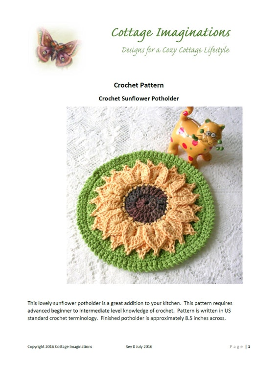 Sunflower Potholder Crochet Pattern Instant Download PDF