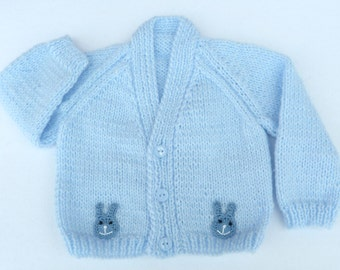 Hand knitted baby clothes. Knit baby cardigan. Blue baby sweater to fit 0 to 3 months. Baby boy clothes, baby boy gift, baby shower gift.