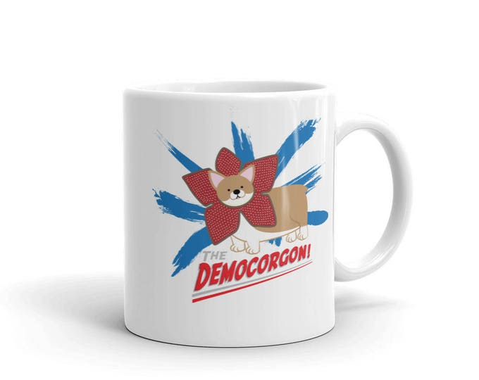 DEMOCORGON Ceramic Mug // Demogorgon corgi parody // Stranger Things Inspired //