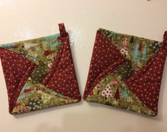 Potholders, quilted potholders, Christmas cooking,