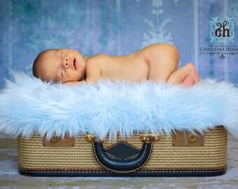 Baby Blue Fur, Mongolian Faux Fur, Fur Blanket, Photography Prop, Faux Fur Rug, Newborn Fur, Newborn Photography, Baby Photography, 30x27