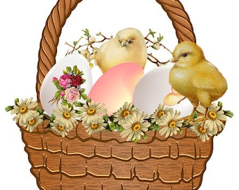 Easter Clipart Basket with Eggs and Chicks Vintage Easter Clipart Daisy Flowers