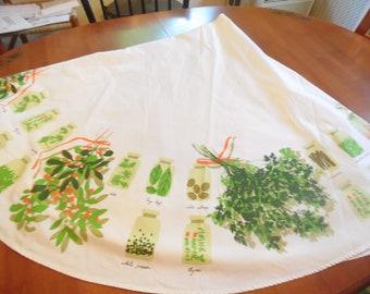 Vintage Vera Neumann Tablecloth - Round - Spice Jars - 68 Inch - 1970s