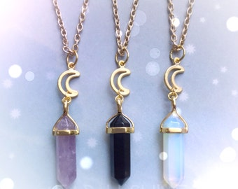 Gold Moon Crystal necklace , you choose Amethyst, Obsidian, Opalite, Rose Quartz, gemstone point necklace,
