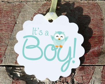 Its A Boy Baby Owl Tag, Perfect for Baby Showers, Owls, Adorable Favors For Baby Shower, Blue, Green, Teal
