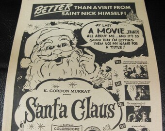 Unusual Vintage Santa Claus Movie Paper Flyer From 1960, Theatre Advertisement, Manchester, Conn.