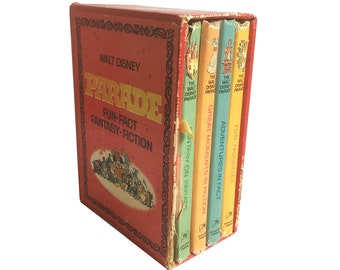 "1970 ""The Walt Disney Parade, Fun - Fact - Fantasy - Fiction"" Boxed Set of 4 Books - Disney Children's Story Books, Golden Press"