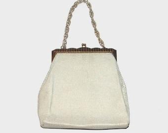 1950s purse / vintage 50s handbag / Whiting & Davis / White Framed Chainmail Evening Purse
