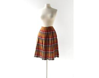 1950s Plaid Skirt | Autumn Plaid Skirt | 50s Pleated Skirt | 27W XS S