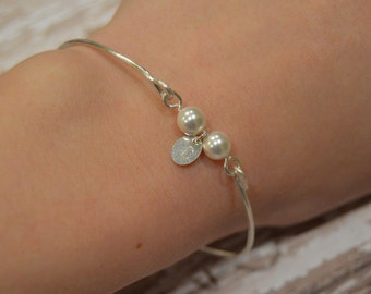 Custom Pearl Bangle Bracelet With Initial Charm