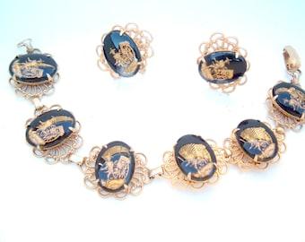 cameo bracelet and earrings Vintage set rickshaw Asian oriental