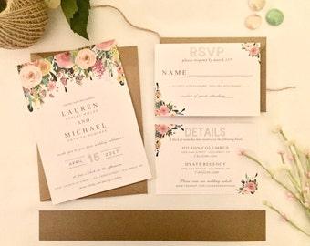 Lauren - FLORAL Wedding Invitation