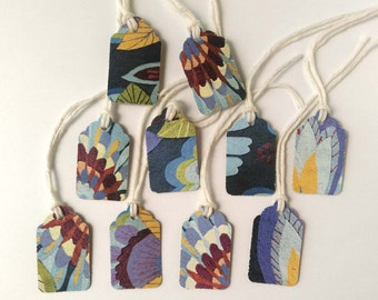 """10 Small Gift Tags  - 1.5"""" x 15/16"""" All Recycled Materials - Blue, Brick Red & Yellow Floral Design"""
