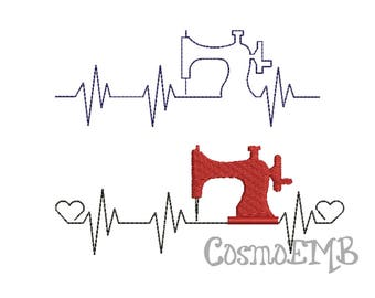 8 Size Heart Beats  Sewing Machine Embroidery  design Machine Embroidery - Digital INSTANT DOWNLOAD