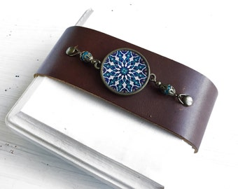 SOTOODEH wristband -  Persian tile design Earrings - Persian jewelry- Oriental - Mandala