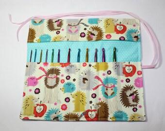 Crochet starter set, crochet hook holder, crochet hook roll, with hedgehogs