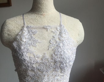 Lace Halter Crop --Lace Top --Lace Crop Top