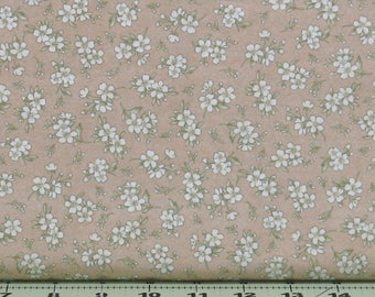 White Flowers with Leaves on Tan Cotton Quilt Fabric Blender, Shabby Chic, Gentle Breeze by Maywood Studios, Fat Quarter, Yardage, MAS8517-T