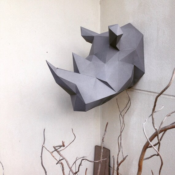 Lowpoly rhino papercraft diy model altavistaventures Choice Image