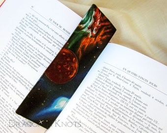Outer Space Bookmark - gift for astronomy teacher or student, science themed, sewn fabric bookmark, page marker, book accessory, universe