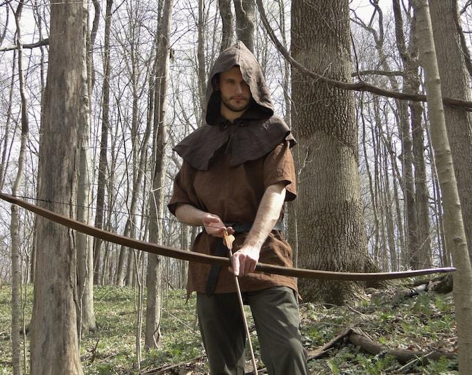 Archer Costume Set, 3 Piece Set - Shirt, Hood, Leather Belt - Mens Large One Size
