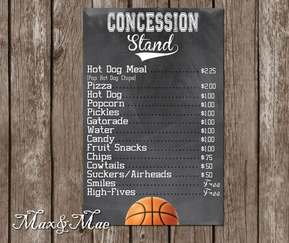 Well known Basketball Birthday Concession Stand Menu Basketball Party EX74