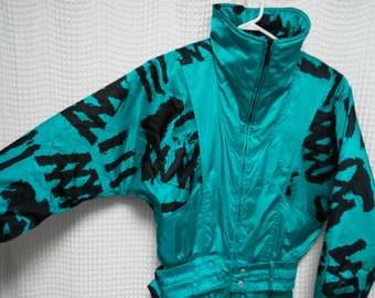 vintage Ski Suit onesie Teal wild Zebra print built in fanny pack turquoise Ladies size 8 Jacket Pants combo skiing snow gear hipster retro