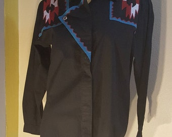 Vintage 90s Black Southwest Western Shirt Blouse Long Sleeve M