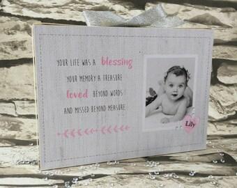 Personalised Freestanding Memento Block - Remembrance Alternative Photo Block - Baby Memento