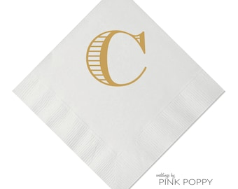 Letter C Monogrammed Initial Napkin Beverage Napkin 25 Styles Available - Foil - Personalized Napkin - Wedding Napkin - Monogrammed Napkin