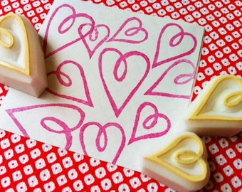 love heart rubber stamp | diy valentine wedding birthday crafts | scrapbooking | gift for her | hand carved by talktothesun | set of 3
