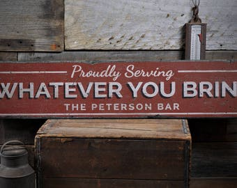 Beau Proudly Serving Sign, Home Bar Decor, Home Bar Sign, Custom Bar Gift,