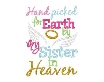 Hand Picked For Earth - Sister In Heaven, Guardian Angel, Rainbow Baby, Miracle Baby, Angel Baby, Sibling Shirts, Pregnancy Announcement