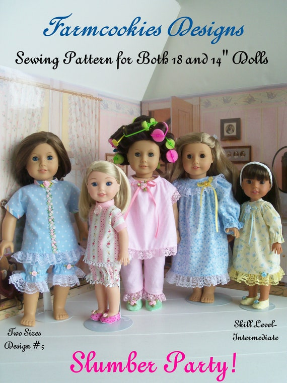 2 Sizes! Fits Like American Girl Doll Clothes and Wellie Wisher doll Clothes. PRINTED SEWING PATTERN /Slumber Party! for Both Size Dolls
