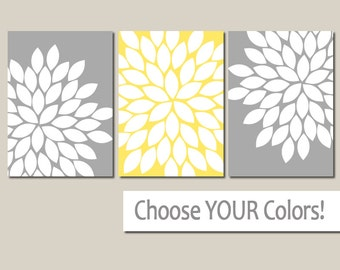 YELLOW GRAY Wall Art, CANVAS or Prints Yellow Gray Bedroom Pictures, Gray Bathroom Decor, Flower Burst Wall Art Set of 3 Floral Home Decor