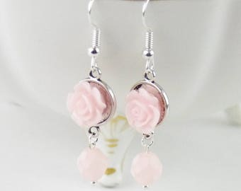 Bridesmaid Gifts, Pink Bridesmaid Earrings, Pale Pink Flower Earrings, Flower Girl Earrings, Silver Jewelry Earrings, confirmation gift