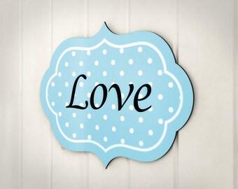 Amor signo / signo de amor de madera / tipografía de la pared muestra / palabras de madera / inspiración signo / vivero firmar / bebé azul de la muestra / azul gris muestra la pared